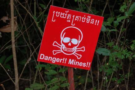 Cambodian landmine sign